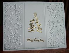 """handmade Christmas card from My Stamping Addiction: """"Clean and Simple"""" Christmas ... white with gold embossed tree ... embossing folder snowflakes on sides ... luv it!"""