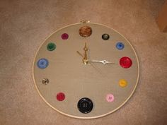 I found a tutorial online at Epheriell Designs  for making a button clock with a embroidery hoop, and I worked on it yesterday. I like the ...