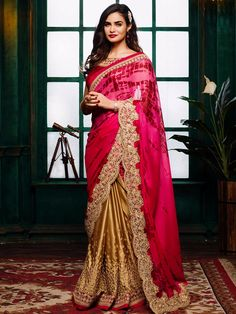 Designer Half And Half Magenta And Beige Satin Crape Wedding Wear Sari
