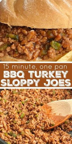 BBQ Turkey Sloppy Joes can be on the dinner table in just 15 minutes! Ground turkey simmers with tomato sauce, BBQ sauce and spices. Serve over hamburger buns Quick Ground Turkey Recipes, Ground Turkey Dinners, Healthy Turkey Recipes, Healthy Ground Turkey, Bbq Turkey, Healthy Sloppy Joe Recipe, Healthy Sloppy Joes, Sloppy Joe Recipe With Bbq Sauce, Crock Pot Turkey