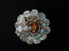 Silver Pewter 'BEE on Flower' Pin