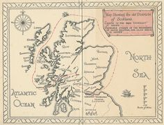 """Map showing the old districts of Scotland."" from ""Kidnapped"" by Robert Louis Stevenson."