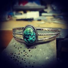 This stone came from an older Navaho style ring that wasn't in very good shape, so I made a brand new setting for it. Turquoise Cuff, Turquoise Bracelet, Navajo Style, Cuff Bracelets, Jewelry Making, Jewels, Sterling Silver, Stone, Ideas