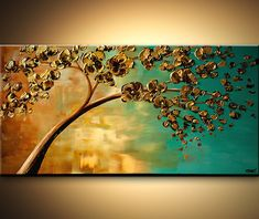 art- Landscape Blooming Trees Painting Original Abstract Modern Palette Knife Acrylic Turquoise Gold by Osnat - MADE-TO-ORDER - Fall Tree Painting, Abstract Tree Painting, Forest Painting, Abstract Art, Sailboat Painting, City Painting, Tree Wall Art, Tree Art, Blooming Trees