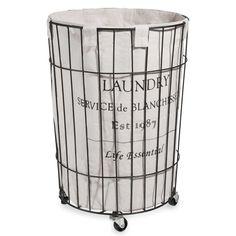 Portabiancheria con rotelle in metallo H 56 cm | Maisons du Monde