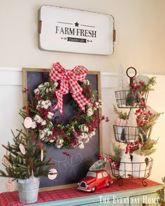 The Everyday home brings back childhood memories and creates an Old Fashioned Christmas in the Breakfast Room with Mason Jar Ornaments and red check bows.