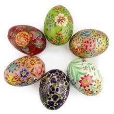 6 Ukrainian Vibrant Flower Design Wooden Easter Eggs