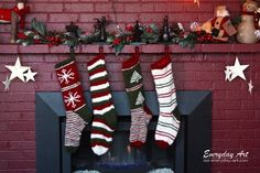This pattern is for knit Christmas stockings using bulky yarn approximately 150 yards per stocking). The purchase includes a PDF file of the pattern for the basic stocking shape to use as a template for your own unique designs. Included with the pattern are ideas for basic striping designs and instructions for adding the embroidered snowflake and tree, which includes photos and tables. The finished product is about 20.5 inches long and 6 inches across. The pattern has been tested by others…