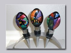 bottle stoppers - Google Search Fused Glass Art, Dichroic Glass, Glass Beads, Bottle Stoppers, Other Accessories, Wine Glass, Beading, Projects To Try, Objects
