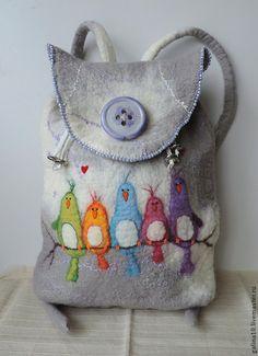 Wool backpack with birds Felted backpack von MarusyaKacharizkina