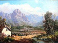 Sold | de Jongh, Gabriel | Landscape Watercolor Landscape, Landscape Art, Landscape Paintings, Landscapes, Canvas Painting Projects, Gabriel, South African Artists, Online Painting, Pictures To Paint