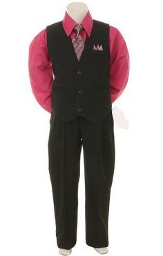 Stylish Dress Suit Outfit Pant, Vest & Tie Set-Boys & Toddler-Black/Fuschia, 4T