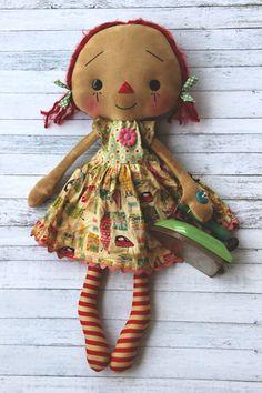 Laundry Day Anna  Primitive Raggedy Ann Doll by HeartstringAnnie