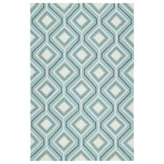Kaleen Rugs Handmade Indoor/ Outdoor Getaway Light Blue Geometric Rug (5' x 7'6) (5'0 x 7'6)