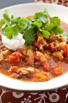 Chicken Chili. Ina Garten's recipe except really you can cook the chicken anyway you like. I usually roast a chicken the night before, eat some of it and then make chili with the rest. If you don't like black beans, drain a can of garbanzo beans and use those instead. Also use some tortilla chips in this as well!