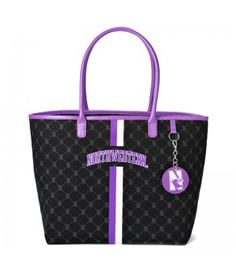 Northwestern Wildcats Canvas Tote that is perfect for everyday use. Large enough for books, laptops, iPads, lunch bags, etc. Pockets inside for your cell phone, iPod. Check out the Northwestern name and matching color stripes on the front, subtle school logo printed all over. The Mirror Charm is perfect to apply your lip-gloss or touch ups which comes in handy whenever you (or your friends :)) need it.
