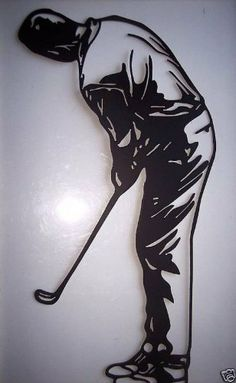 """Metal Wall Art Decor Man Golfing, Golfer Gift by JNJ Metalworks. $24.99. Rust Resistant Paint. High Quality Steel Construction. Hand made in the USA. Metal Wall Art Decor Man Putting Golf, Golfer Gift , Golfer Gift, Made Of High Quality Steel, Painted Black, In New Condition, Measures 18 1/2"""" Tall By 11 1/2"""" Wide."""