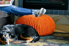 a more affordable knit pouf