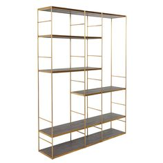 Metropolis Shelf Unit, Stone Grey and Champagne | Bookcases | Home Office