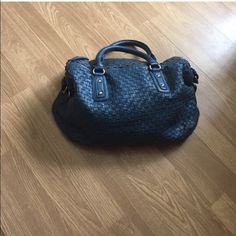 Vegan Blue Woven Leather Large Satchel Vegan Designer Bag can expand to be huge with side buckles was featured in Cosmo Melie Bianco Bags