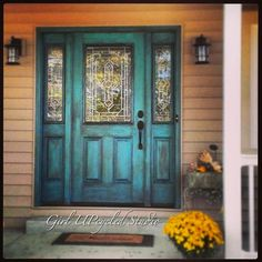"""Do you ever drive past a home and just say """"WOW""""? There's just something  about a beautifully painted front entrance that makes a home just stand out  among the rest, you know the one, the one that has that flair and  character. Makes you just know that there must be a very interesting story  and family that is beyond that door.    This is the inspiration photo that I used to come up with the color, in  particular the bright vibrant green and the rich purple of the wall. This  homeowner..."""