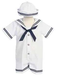 White and Navy Baby Boys Sailor Set with Hat - This classic little sailor's romper is sure to become a favorite when your little guy wears it.  Constructed of a cotton blend fabric, not only will he look sharp, he'll stay looking that way all day.  Made for comfort, designed for style, he'll be the little guy everyone is watching!  Made in the USA.