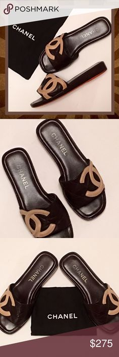 CHANEL Summer Slides Brown Quilted Leather - 7.5 Authentic classy brown quilted leather with beige CC monograms, size 7.5.  Come with dust bag and overall condition is very good to excellent.  Just a few very minor and hardly visible, scuff marks to sides, which is to be expected when it comes to soft leather like this.  Also to the CC's, on the sides.  Tops are excellent. CHANEL Shoes Sandals