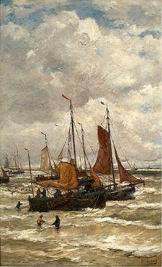 Hendrik Willem Mesdag - Anker lichten en Vertrekkende bomschuiten en vissersvolk op het strand