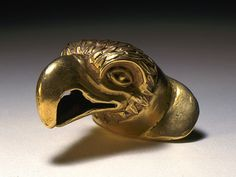 Labret in the Form of an Eagle Head  Mexico, Western Oaxaca or Puebla, Mixteca-Puebla style or International style, 1200-1500  Jewelry and Adornments; labrets  Gold  1 × 1 × 1 in. (2.54 × 2.54 × 2.54 cm)