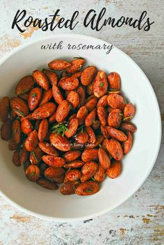 Roasted almonds with rosemary, chilli powder and honey is a delicious and healthy snack suitable for any time of the day. This superfood snack is inspired by the celebrated chef David Rocco's recipe with cashew nuts and rosemary. Indian Food Recipes, Gourmet Recipes, Vegetarian Recipes, Snack Recipes, Healthy Recipes, Nut Recipes, Sweets Recipes, Yummy Recipes, Tapas