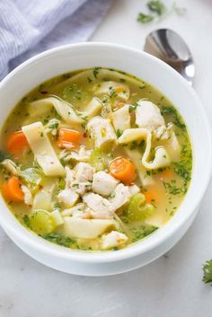 The best homemade chicken noodle soup you'll ever make! Homemade chicken broth and optional homemade egg noodles. Surprisingly simple and completely amazing.