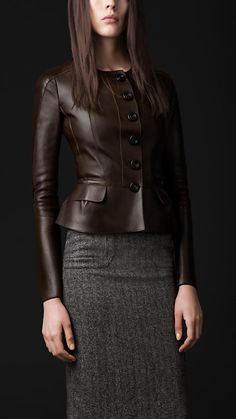 hot chocolate: Burberry brown leather jacket tweed pencil skirt
