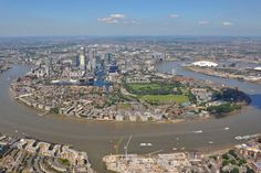 An aerial photograph of the Isle of Dogs and London's second major business district - Canary Wharf