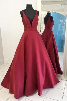 Red Satin Prom Dress Ball Gown Prom Dress Straps Evening Dress-Pgmdress