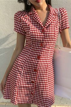 Buy Moss Studio Gingham Short-Sleeve A-Line Dress Casual Wear, Casual Dresses, Casual Outfits, Fashion Dresses, Short Sleeve Dresses, Summer Dresses, Skirt Outfits, Dress Skirt, Indian Designer Outfits