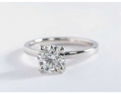 Low Dome Comfort Fit Solitaire Engagement Ring in 14k White Gold (2mm) | Blue Nile