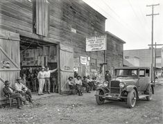 "1925. ""Indian guides and Nash auto at Covelo stables. Mendocino County, Calif."" Along with a tin-sign Who's Who of the 1920s soft drink industry, starting with Shorpy's favorite beverage, Whistle, and its slogan ""WHIZ-WHIM-WHANG."" 6½ x 8½ glass negative from Wyland Stanley via Marilyn Blaisdell.  
