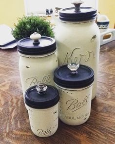 Mason jar canisters other decorated jars, kitchen canisters, Mason Jar Projects, Mason Jar Crafts, Mason Jar Diy, Bottle Crafts, Mason Jar Kitchen Decor, Mason Jar Bathroom, Boho Kitchen, Painted Mason Jars, Diy Kitchen