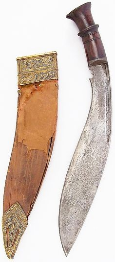 Indian or Nepalese kukri, 19th century, steel, wood, leather, gold, H. with sheath 17 7/16 in. (44.3 cm); H. without sheath 16 5/8 in. (42.2 cm); W. 1 15/16 in. (4.9 cm); Wt. 17.2 oz. (487.6 g); Wt. of sheath 5.1 oz. (144.6 g), Met Museum, Bequest of George C. Stone, 1935.