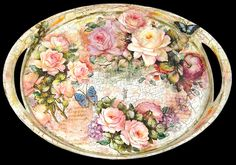 """Serving Tray - Decoupage: """"ROSES"""" 46 X 33 cm"""