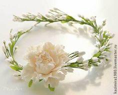 Свадебный венок с молочным цветком - белый,венок,свадебный венок,венок на голову