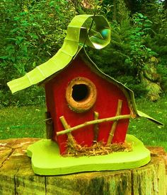 0910C Whimsical Birdhouse by adventureoriginals on Etsy, $36.00