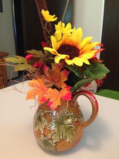 Fall Leaf Ceramic Pitcher Floral Sunflower Center by TMStreasures, $19.99