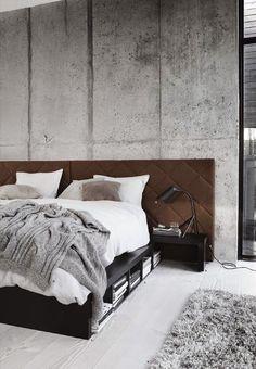 Ibland börjar jag frossa i sådana här betongmiljöer. Det här lite kalla sovrummet med betongvägg... - wonderful walls