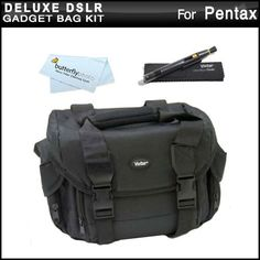 Deluxe Large Digital SLR Gadget Bag  Case for Pentax K30 K5II K5IIs 645D X5 Kr Digital SLR Camera  Lens Pen Cleaning Kit  MicroFiber Cleaning Cloth ** Want to know more, click on the image.