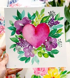 """Today I want to tell you about the wonderful book """"Flower Watercolor"""" by TUVA Publishing autor Christine Stapff. This book is about watercolor flowers and floral design… Watercolor Books, Watercolor Drawing, Watercolor Cards, Watercolor Illustration, Floral Watercolor, Watercolor Heart, Watercolour Paintings, Floral Paintings, Happy Paintings"""