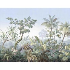 Casa Cosima Classic Jacinda Wallpaper Mural - 5 Panels W X H For Sale - Image 6 of 6 Bathroom Wallpaper Trends, Tree Wall Painting, Scenic Wallpaper, Tree Wallpaper Mural, Wall Murals, Wall Art, Photocollage, Tropical Landscaping, Maya Angelou