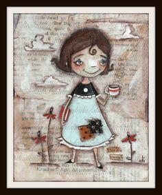 Print of my Original Folk ARt Painting She Prayed por DUDADAZE