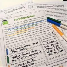Free Halloween Reading Comprehension (Frankenstein)  In my newsletter this week I shared a FREE Frankenstein reading comprehension passage that helps students practice finding text evidence!  Grab the freebie from my newsletter HERE!  3-5 Close Reading comprehension Halloween Mrs. Thompson's Treasures reading text evidence