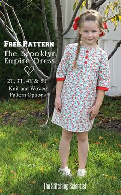 Kleid Schnittmuster (für Baumwolle und Jersey) und englische Anleitung 2 -  5 Jahre Crear d05ddc70efd